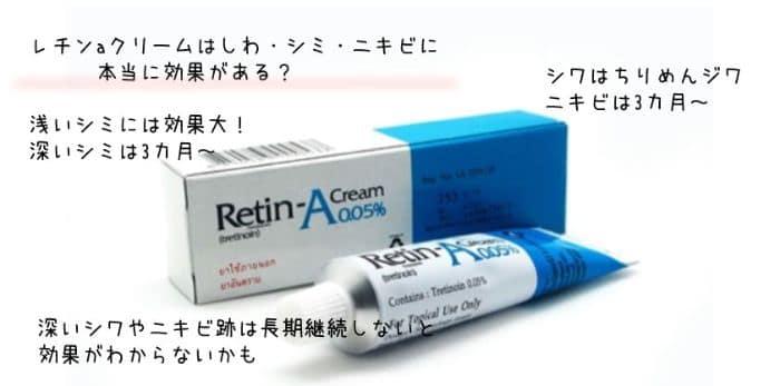 レチンaクリームの効果はシミやしわ・ニキビという説明画像
